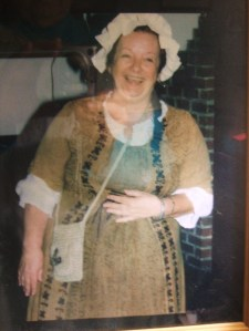Author Arlene Bice in Colonial garb.